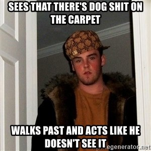 Scumbag Steve - sees that there's dog shit on the carpet walks past and acts like he doesn't see it