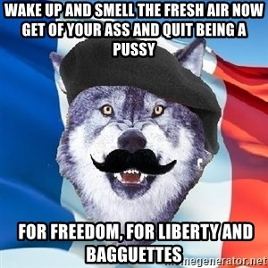 Monsieur Le Courage Wolf - Wake up and smell the fresh air now get of your ass and quit being a pussy  for freedom, for liberty and Bagguettes