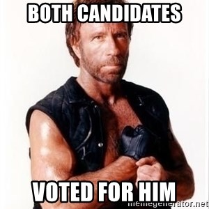 Chuck Norris Meme - both candidates voted for him