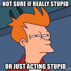 Futurama Fry - Not sure if really stupid or just acting stupid