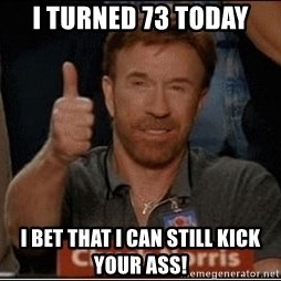 Chuck Norris Approves - i turned 73 today i bet that i can still kick your ass!