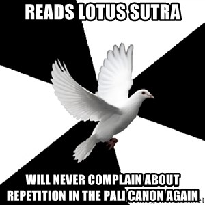 Religious Studies Dove - reads lotus Sutra will never complain about repetition in the pali canon again