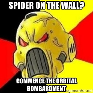 ANGRY MARINE - Spider on the wall? COMMENCE THE ORBITAL BOMBARDMENT