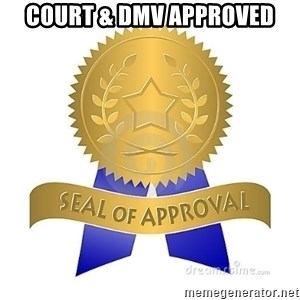 official seal of approval - Court & dmv approved