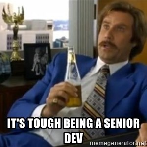 That escalated quickly-Ron Burgundy -  It's tough being a senior dev