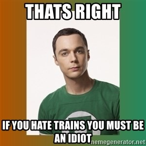 sheldon cooper  - THATS RIGHT  IF YOU HATE TRAINS YOU MUST BE AN IDIOT