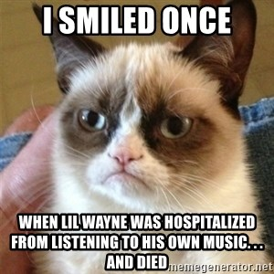 Grumpy Cat  - I smiled ONCE when LIL WAYNE was HOSPITALized FROM LISTENING TO HIS OWN MUSIC. . . and died
