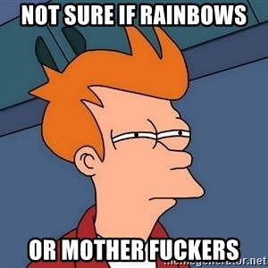 Futurama Fry - Not sure if rainbows Or mother fuckers