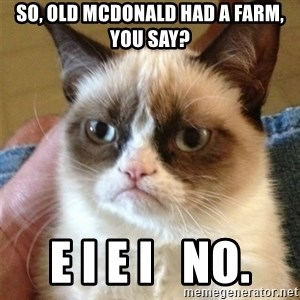 Grumpy Cat  - so, Old mcdonald had a farm, you say? e i e i   no.