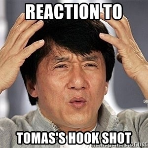 Jackie Chan - reaction to  tomas's hook shot