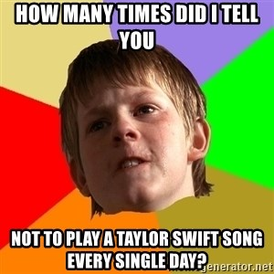 Angry School Boy - How many times did I tell you not to play a Taylor Swift song every single day?