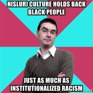 Privilege Denying Dude - n[slur] culture holds back black people just as much as institutionalized racism