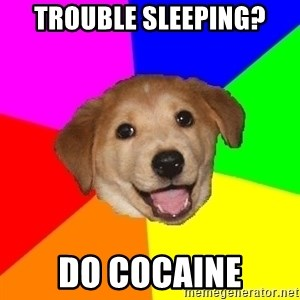 Advice Dog - trouble sleeping? do COCAINE