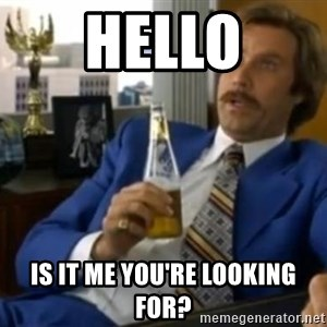 That escalated quickly-Ron Burgundy - hello is it me you're looking for?