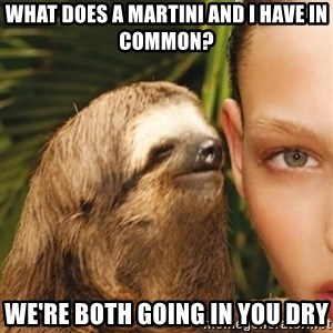 The Rape Sloth - what does a martini and i have in common? we're both going in you dry