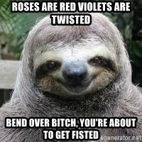 Sexual Sloth - Roses Are red Violets Are Twisted Bend Over bitch, you're about to get fisted