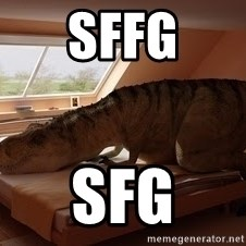 T Rex Makes Bed - sffg sfg
