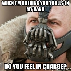 Bane - when i'm holding your balls in my hand DO YOU FEEL in charge?