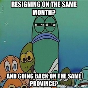 suspicious spongebob lifegaurd - Resigning on the same month? and going back on the same province?
