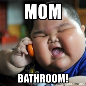 fat chinese kid - MOM Bathroom!