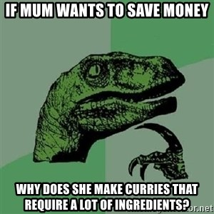Philosoraptor - if mum wants to save money why does she make curries that require a lot of ingredients?