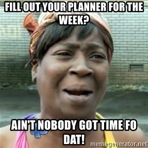 Ain't Nobody got time fo that - fill out your planner for the week? ain't nobody got time fo dat!