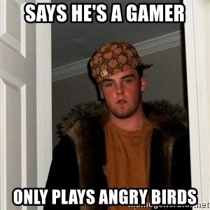 Scumbag Steve - says he's a gamer only plays angry birds