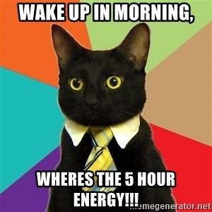Business Cat - wake up in morning, wheres the 5 hour energy!!!