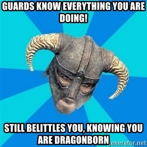 skyrim stan - guards know everything you are doing! still belittles you, knowing you are dragonborn