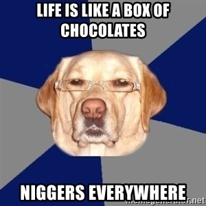 Racist Dog - life IS LIKE A BOX OF CHOCOLATES NIGGERS EVERYWHERE