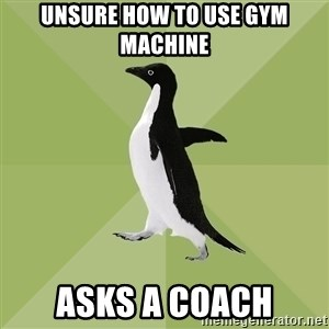 Socially Average Penguin - UNSURE HOW TO USE GYM MACHINE ASKS A coach