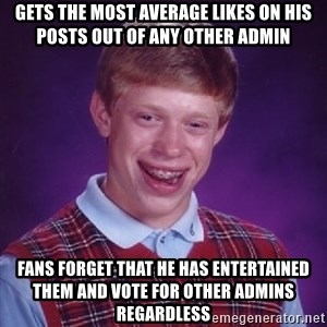 Bad Luck Brian - gets the most average likes on his posts out of any other admin fans forget that he has entertained them and vote for other admins regardless