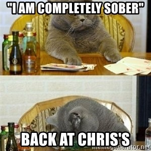 "Poker Cat - ""I am completely sober"" Back at Chris's"