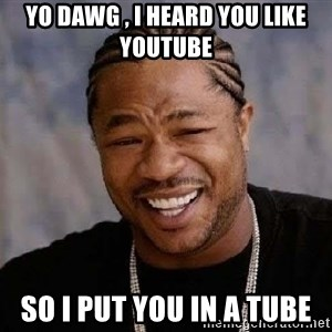 Yo Dawg - yo dawg , i heard you like youtube so i put you in a tube