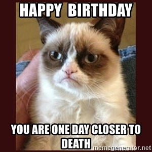 Tard the Grumpy Cat - happy  birthday  you are one day closer to death