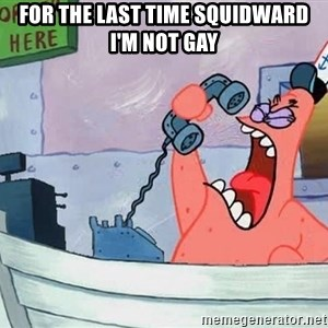 THIS IS PATRICK - FOR THE LAST TIME SQUIDWARD I'M NOT GAY