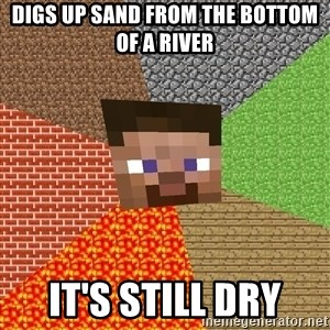 Minecraft Guy - Digs up sand from the bottom of a river it's still dry
