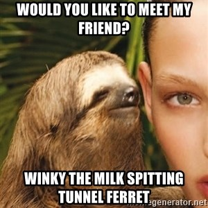 The Rape Sloth - would you like to meet my friend? Winky the milk spitting tunnel ferret
