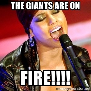 Alicia Keys Sings - The Giants are on fire!!!!