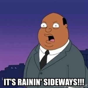 Ollie the Weatherman -  IT'S RAININ' sideways!!!