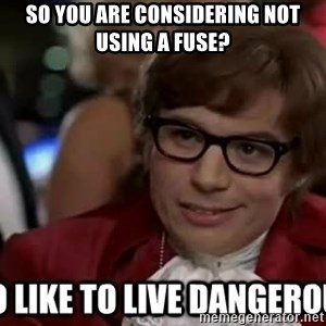 I too like to live dangerously - So you are considering not using a fuse?