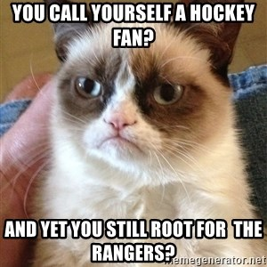 The Angry Cat - you call yourself a hockey fan? and yet you still root for  the rangers?