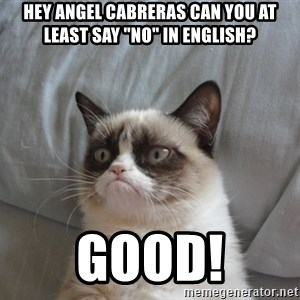"Grumpy cat good - Hey Angel Cabreras can you at least say ""No"" in English? Good!"