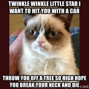 Tard the Grumpy Cat - twinkle winkle little star I want to hit you with a car throw you off a tree so high hope you break your neck and die
