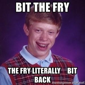 Bad Luck Brian - BIT THE FRY THE FRY LITERALLY     BIT BACK