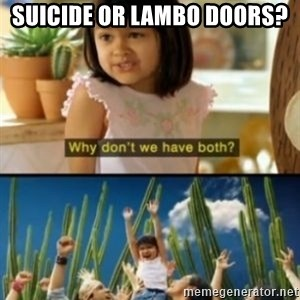Why not both? - Suicide or lambo doors?