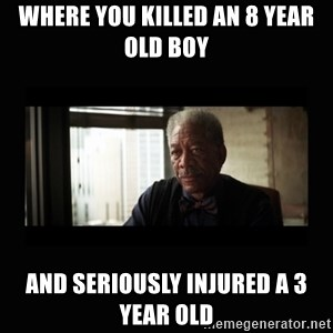 Good Luck Morgan Freeman - where you killed an 8 year old boy and seriously injured a 3 year old