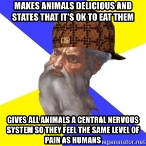 Scumbag God - makes animals delicious and states that it's ok to eat them gives all animals a central nervous system so they feel the same level of pain as humans