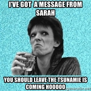 Disturbed Bowie - I've got  a message from sarah you should leave the tsunamie is coming hooooo