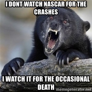 Insane Confession Bear - i dont watch nascar for the crashes i watch it for the occasional death